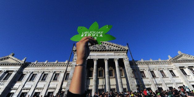 People take part in a demo for the legalization of marijuana in front of the Legislative Palace in Montevideo, on December 10