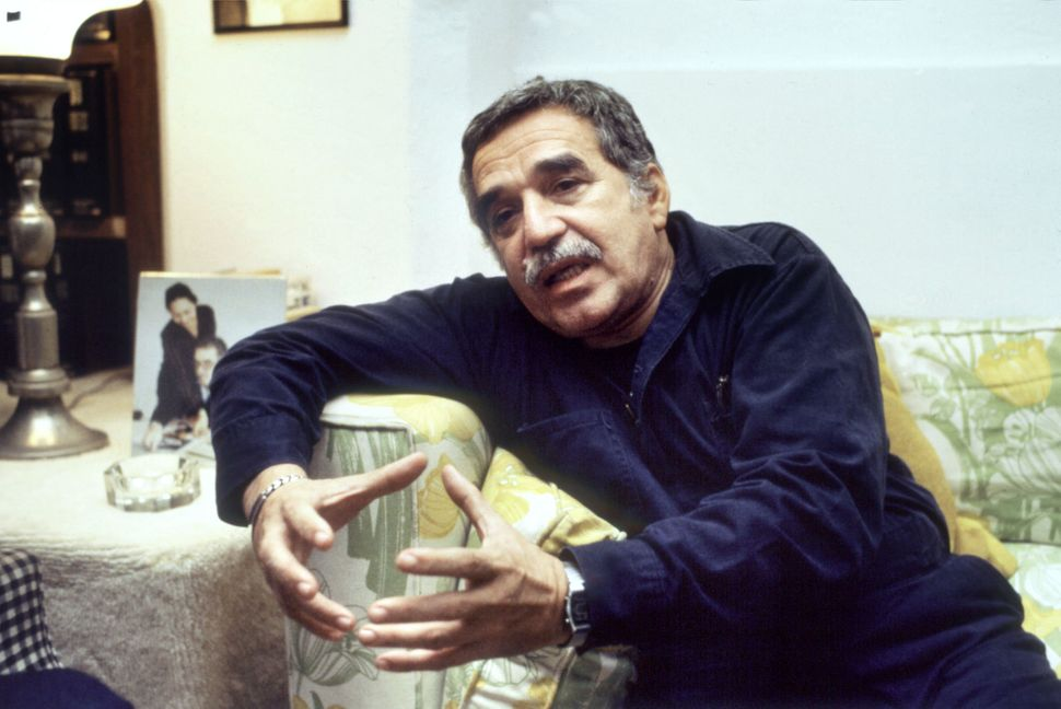 Colombian writer Gabriel Garcia Marquez answers journalists' questions aftre having been announced as winner of the Nobel Pri