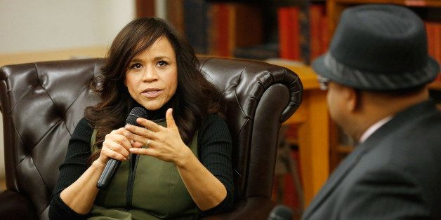 NEW YORK, NY - MARCH 03:  Actress/dancer Rosie Perez speaks with journalist Odie Henderson during a book signing for her new