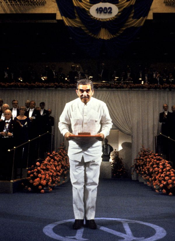 Colombian writer Gabriel Garcia Marquez bows after receiving the Nobel Prize for Literature, Dec. 10, 1982, in Stockholm. (Be