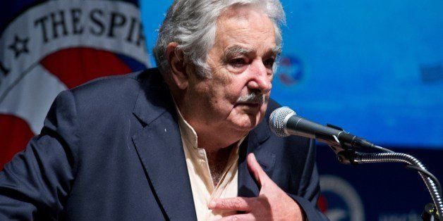 Uruguay President Jose Mujica addresses an audience May 13, 2014 at the US Chamber of Commerce in Washington, DC.  AFP PHOTO