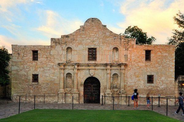 "The Alamo was built around 1718 along the banks of the San Antonio River. <a href=""http://www.history.com/topics/alamo"" targe"
