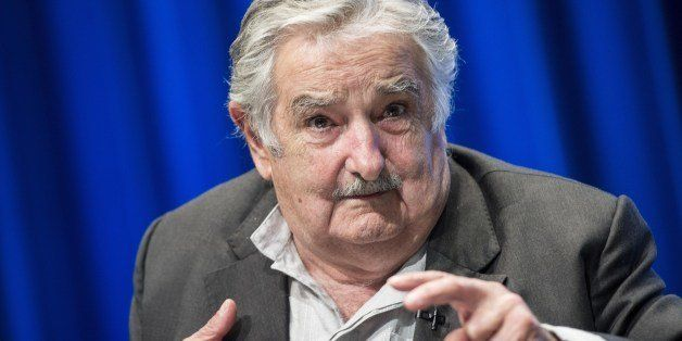 Uruguayan President Jose Mujica speaks at the World Bank on May 14, 2014 in Washington, DC. Mujica and Jorge Familiar, World