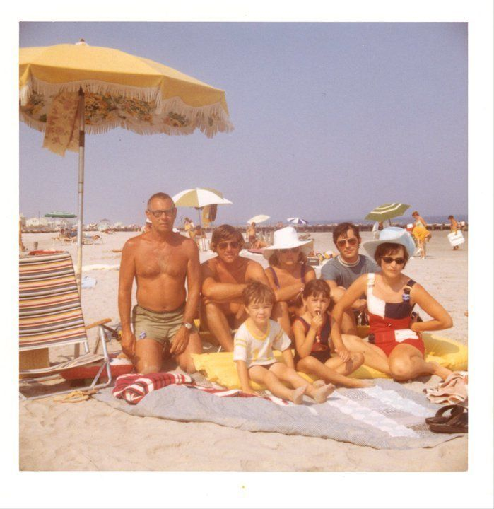 "A family photo taken at Stone Harbor from 1972. ""My grandparents had kept a house there for many years, sharing it with aunts"