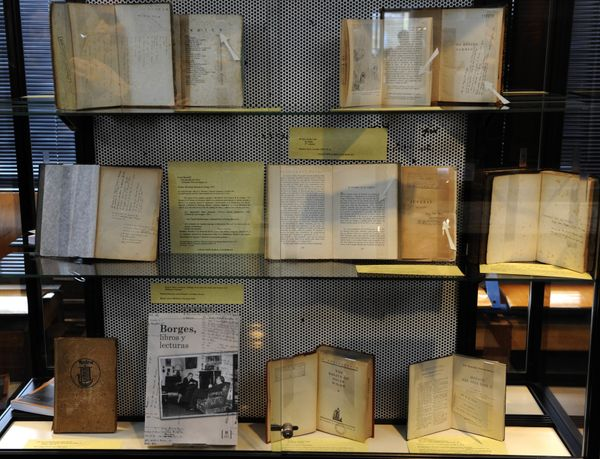 Books with notes an handwritten comments  by Argentine writer Jorge Luis Borges (1899-1986) on display at the National Librar