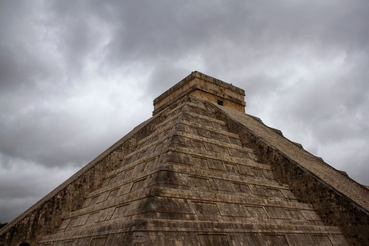 The pyramid at the Mayan archaeological site at Chichen Itza in Mexico.