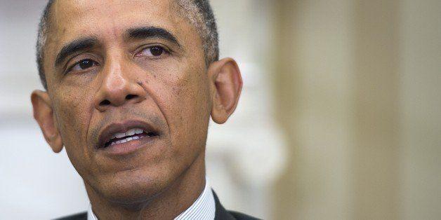 US President Barack Obama speaks during a bilateral meeting with Israeli Prime Minister Benjamin Netanyahu at the White House
