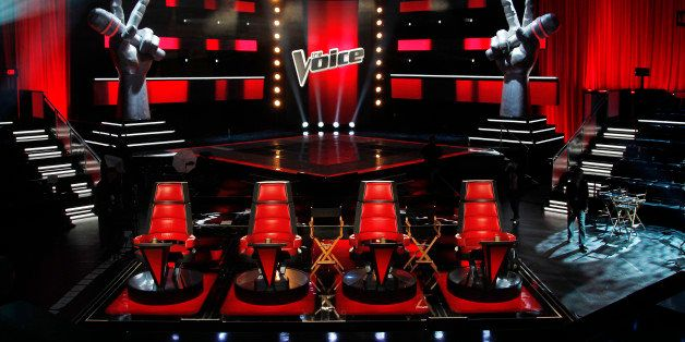 """A general view of the set of """"The Voice"""", is seen in Culver City, Calif., Friday, Oct. 28, 2011.  Season two of """"The Voice"""" w"""