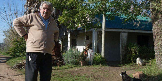 Uruguayan President Jose Mujica is seen at the garden of his house on the outskirts of Montevideo, after an interview with Ag