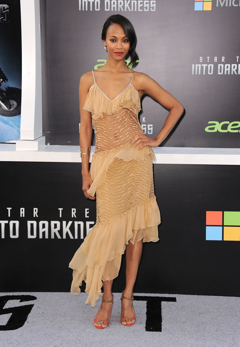 "Zoe Saldana arrives at the LA premiere of ""Star Trek Into Darkness"" at The Dolby Theater on Tuesday, May 14, 2013 in Los Ange"