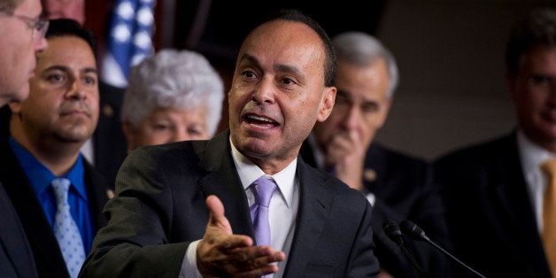 UNITED STATES - NOVEMBER 28:  Rep. Luis Gutierrez, D-Ill., speaks at a news conference in the Capitol Visitor Center, held by