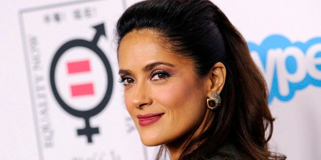"Honoree Salma Hayek Pinault poses at the ""Make Equality Reality"" event at the Montage Hotel on Monday, Nov. 3, 2014, in Bever"