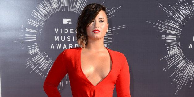 Demi Lovato arrives at the MTV Video Music Awards at The Forum on Sunday, Aug. 24, 2014, in Inglewood, Calif. (Photo by Jorda