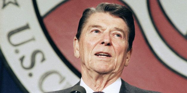 FILE - In this April 24, 1986 file photo, President Ronald Reagan addresses the U.S. Chamber of Commerce in Washington, D.C.