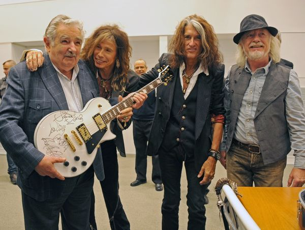 Aerosmith met up with Mujica in 2013, offering an autographed guitar as a gift. Mujica put the guitar up for auction to raise