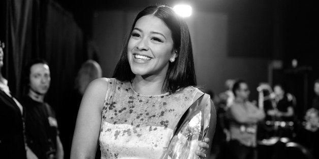 LOS ANGELES, CA - JANUARY 07: (EDITORS NOTE: This Image was taken in B/W color not availabe).  Actress Gina Rodriguez,  backs