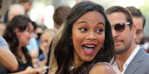 "Zoe Saldana seen at Twentieth Century Fox and Reel FX Animation Studios premiere of ""The Book of Life"" on Sun, Oct 12, 2014,"
