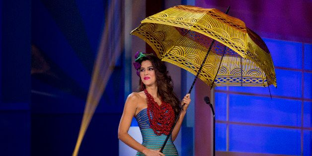 Miss Colombia, Paulina Vega, poses for the judges, during the national costume show during the 63rd annual Miss Universe Comp