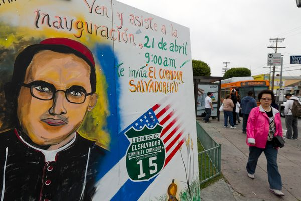 <em>A mural bearing the image of martyred Catholic archbishop Oscar Romero is displayed in the center of Los Angeles'  Salvad