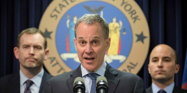 New York State Attorney General Eric Schneiderman speaks during a news conference Wednesday, June 25, 2014, in New York. Schn