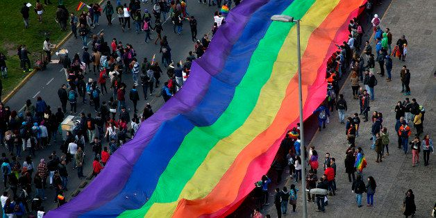 People wave a huge rainbow flag during the Gay Pride Parade in Santiago on June 22, 2013. AFP PHOTO/ CLAUDIO SANTANA        (