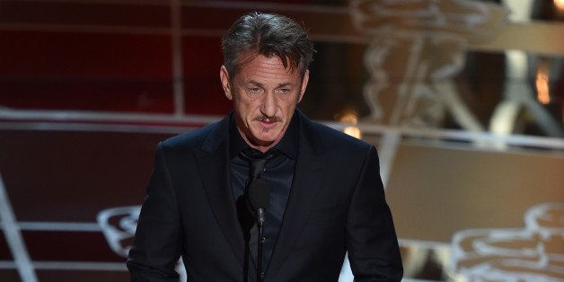 HOLLYWOOD, CA - FEBRUARY 22:  Actor Sean Penn speaks onstage during the 87th Annual Academy Awards at Dolby Theatre on Februa