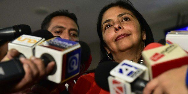Venezuela's Foreign Minister Delcy Rodriguez speaks to the press following the UNASUR meeting in Quito, on March 14, 2015. Ec