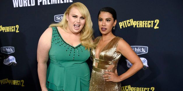 """Rebel Wilson, left, and Chrissie Fit arrive at the world premiere of """"Pitch Perfect 2"""" at Nokia Theatre L.A. Live on Friday,"""