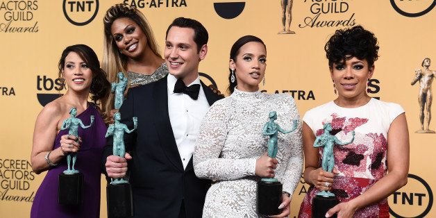 Elizabeth Rodriguez, from left, Laverne Cox, Matt McGorry, Dascha Polanco and Selenis Leyva pose in the press room with the a