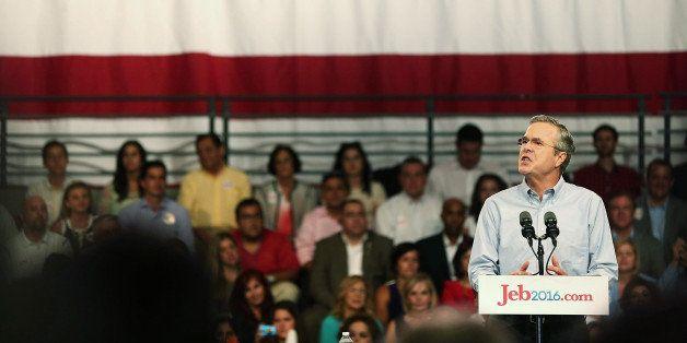 MIAMI, FL - JUNE 15:  Former Florida Governor Jeb Bush announces his plan to seek the Republican presidential nomination duri