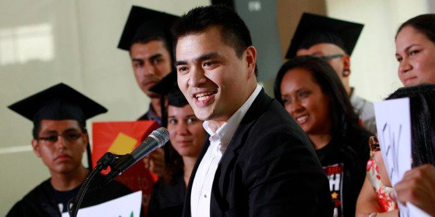 Former Washington Post journalist turned immigration reform activist, Jose Antonio Vargas, center, an illegal immigrant himse