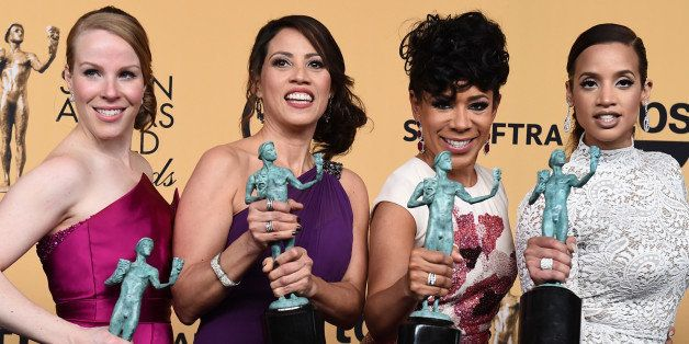 Emma Myles, from left, Elizabeth Rodriguez, Selenis Leyva and Dascha Polanco pose in the press room with the award for outsta