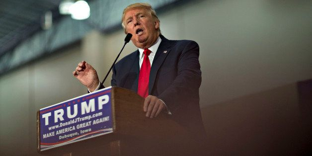 Donald Trump, president and chief executive of Trump Organization Inc. and 2016 Republican presidential candidate, speaks dur