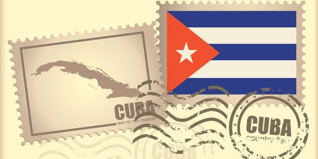 postage stamp and the seal with the image of the card and the flag of the Cuba