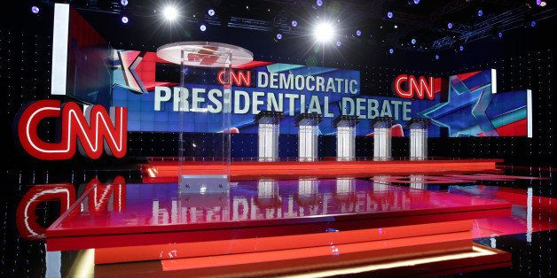 LAS VEGAS, NV - OCTOBER 13:  A general view shows the stage during a walk-through before a Democratic presidential debate spo