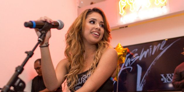 LOS ANGELES, CA - NOVEMBER 14:  Recording artist Jasmine Villegas at her EP Release Party And Pop Up Concert For 'That's Me R