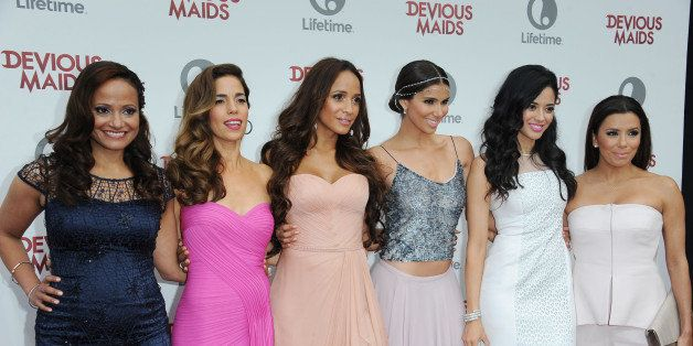 Judy Reyes, from left, Ana Ortiz, Dania Ramirez, Roselyn Sanchez, Edy Ganem, and Eva Longoria attends the premiere party for