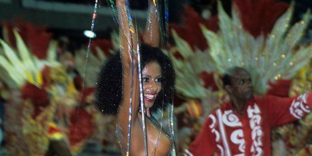 RIO DE JANEIRO, BRAZIL - 2002/02/15: (EDITORS NOTE: Image contains nudity.) -  Valeria Valenssa, former Mulata Globeleza, Sam