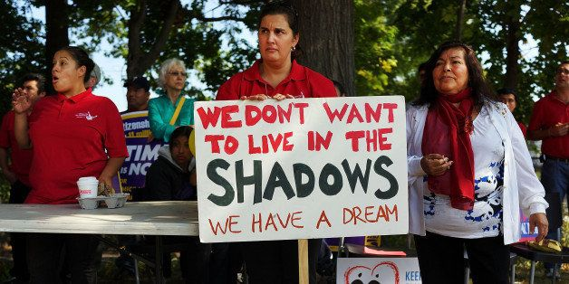 NEW HAVEN, CT - OCTOBER 05: Advocates for immigration reform gather as part of the National Day for Dignity and Respect on Oc