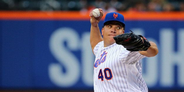 May 2, 2016; New York City, NY, USA; New York Mets starting pitcher Bartolo Colon (40) pitches during the first inning agains