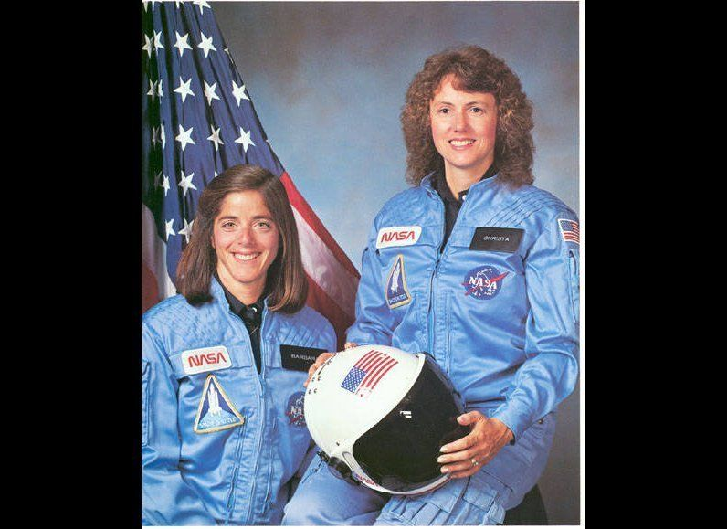 Christa McAuliffe and Barbara Morgan, Teacher in space primary and backup crew members for Shuttle Mission STS-51L. Caption: