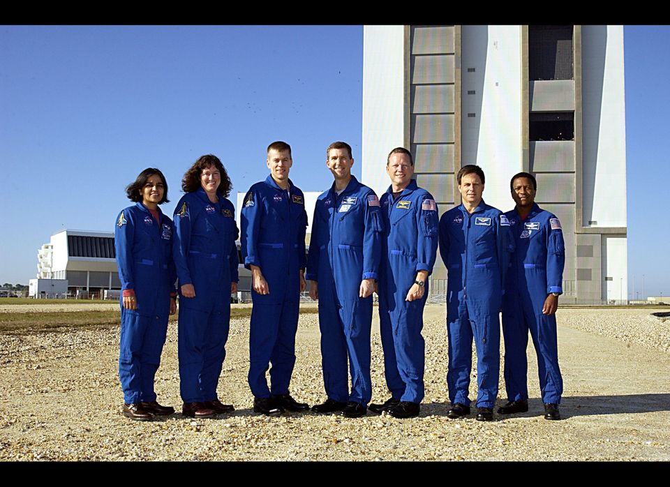 The crew of the Space Shuttle Columbia; specialists Kalpana Chawla and Laurel Clark, pilot William 'Willie' McCool, commander