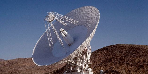 Evening view of the Goldstone Deep Space Station antenna which is part of the Deep Space Network (DSN), one of three such com
