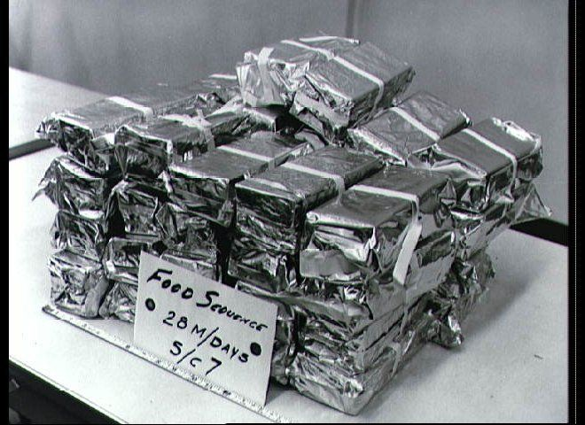 View of food packets for the Gemini 7 space flight packaged and ready for loading on the Gemini spacecraft.