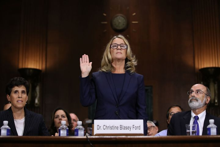 Christine Blasey Ford is sworn in Thursday before the Senate Judiciary Committee in the Dirksen Senate Office Building on Cap
