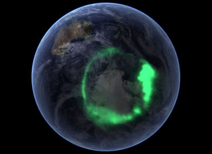 Aurora australis captured by NASA's IMAGE satellite and overlaid onto NASA's satellite-based Blue Marble image.