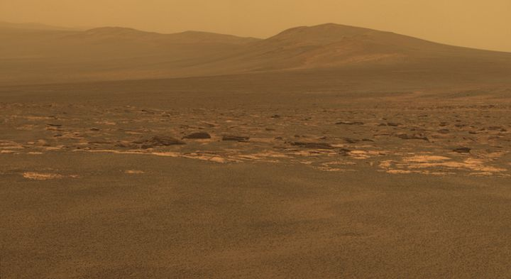 southward in this color view from NASA's Mars Exploration Rover Opportunity.  ... Endeavour crater has been the rover team's