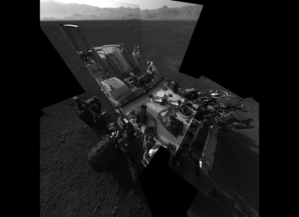 This full-resolution self-portrait shows the deck of NASA's Curiosity rover from the rover's Navigation camera. The back of t