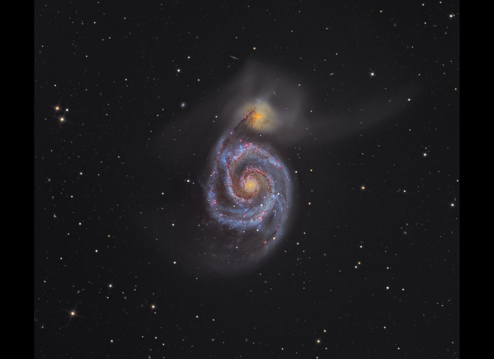 This beautifully composed image of the Whirlpool Galaxy combines fine detail in the spiral arms with the faint tails of light