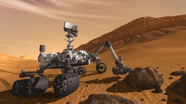 description 1 This artist concept features NASA's Mars Science Laboratory Curiosity rover, a mobile robot for investigating M